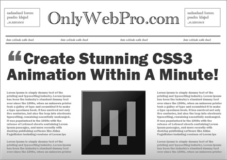 onlyWebPro spinning newspaper animation