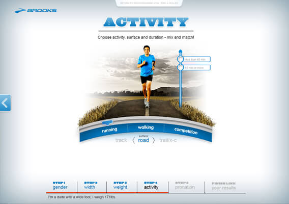 Brooks Shoe Advisor Questionaire Page