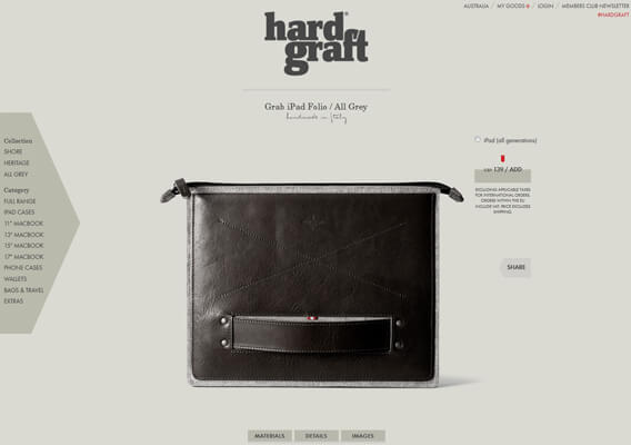 Hard Graft Product Detail Page