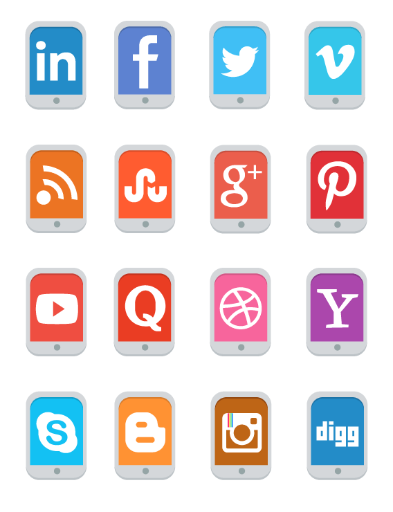 FREE Flat Mobile Social Media Icon Set