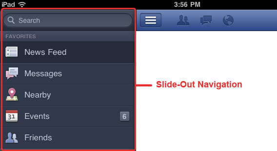 Facebook App Style Slide-Out Navigation