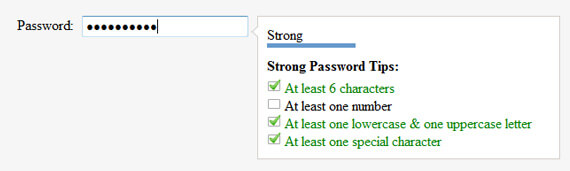 screenshot of jquery password indicator